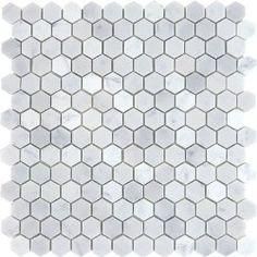 "$10.95SF Carrara Hexagon Honed Mosaic Tile 1"""