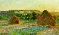 """Monet Claude,  """"Wheat stacks  (End of Summer) 1890-91; Oil on canvas, 60 x 100 cm (23 5/8 x 39 3/8 in); The Art Institute of Chicago"""