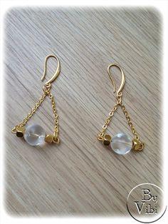 Boucles d'oreilles percées verre et dorées par ByVibi sur Etsy, €14.00
