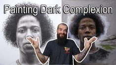 How I Paint Dark Skin Color. Painting Videos, Painting Techniques, Painting & Drawing, Dark Complexion, Dark Skin, Cesar Santos, Art Basics, Self Described, Charcoal Portraits