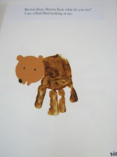 Brown Bear Hand Print Book has Handprint Ideas for each Animal in the book.