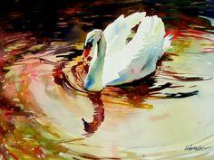 """Swan At Sunset"" by David Lobenberg"