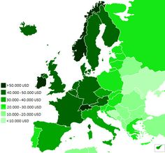 European GDP (PPP) per capita in 2014. Figures from International Monetary Fund[38]