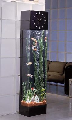 A clock/fishtank combination. It would be pretty cool to have it in my future personal Library