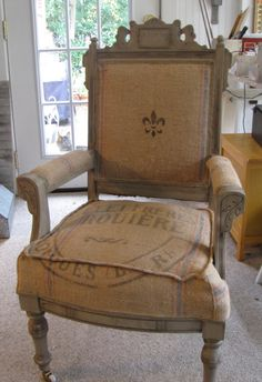 Antique Eastlake Victoria chair with French grain sack upholstery by VintageResurrections on etsy