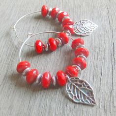 Falling Leaves Crimson Earrings Red Czech Glass by montanajewel