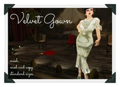 Second Life Marketplace - *MS Silver Velvet Evening Gown