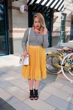 What This Mama Wore: Colorful Fall Outfit | Beauty and the Binky blog | yellow skirt, @target, A New Day, new Target brand, midi skirt, pleated midi skirt, pleated skirt, striped bodysuit, colorful style, fashion blogger, trendy style