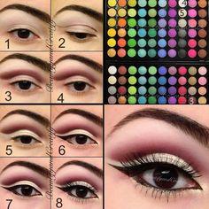 Eye Makeup Tips.Smokey Eye Makeup Tips - For a Catchy and Impressive Look Eye Makeup Tips, Smokey Eye Makeup, Eyeshadow Makeup, Eyeshadows, Neutral Eyeshadow, Eyeshadow Palette, Smoky Eye, Gold Makeup, Sparkly Eyeshadow