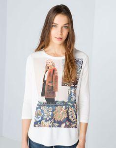 T-shirt Bershka estampado fotografia
