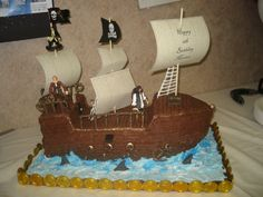 Pirates of the Caribbean - Pirates of the Caribban cake, bc frosting with royal icing rigging and rails.  Thanks to lots of ideas from this site.