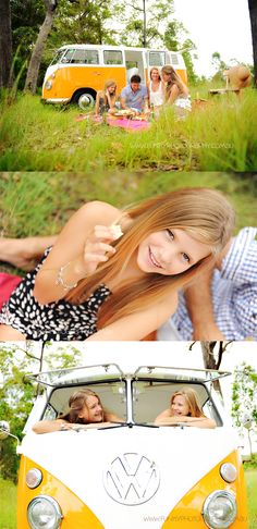 vw kombi photo shoot with a family having a picnic... This is to cute! I want to find this vehicle so i can do a similar photo shoot of my own. I love this... <3