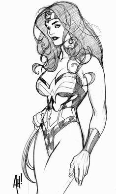 Wonder Woman sketch by Adam Hughes. I'd give my left thumb for an Adam Hughes original of Wonder Woman. Comic Book Artists, Comic Book Characters, Comic Artist, Comic Character, Comic Books Art, Character Design, Arte Dc Comics, Bd Comics, Comics Girls