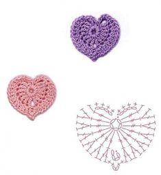 Crochet heart with pattern Crochet Bows, Easter Crochet, Love Crochet, Crochet Gifts, Diy Crochet, Crochet Flowers, Crochet Motif Patterns, Granny Square Crochet Pattern, Crochet Diagram