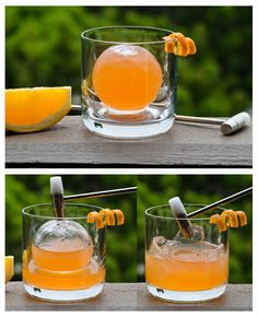 Cocktail In An Ice Sphere - I've contemplated various ways of achieving this using balloons and other tricks, but once I saw the kind of ice caves and cones that are made in Tiki Bars by shaping and refreezing crushed and / or shaved ice, I realized this idea could be streamlined and developed further.