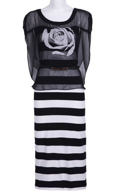 Black Striped Rose Print Chiffon Dress