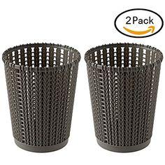 RAVPump 2Pcs Weaving Wastebasket Desktop Waste Bin Paper Basket Trash Can Plastic Garbage Bin - Dark Grey L