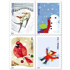 Winter Fun stamps, 2014 US holiday stamps