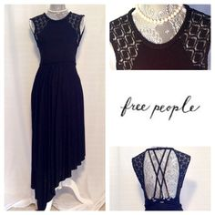 Free People Black Multi-Layer Dress: NWT NEW with tags. Textured with lace and black nautical rope. Extremely detailed open back. Casual or dressy, just change out the shoes and add a sweater! Please leave offers under blue 'offer' button. All offers greatly considered, always willing to work with you! As always, leave any questions you may have below! Free People Dresses Asymmetrical