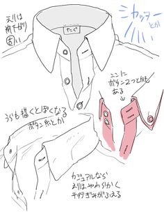 シャツ及びコート襟、ズボン皺の描き方メモ [1]