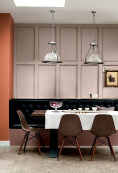 Staying in is the new going out. Channel restaurant style with a soft palette of tonal pinks and earthy hues. Nutmeg Cluster, Bitter Chocolate 4 and Gipsy Bloom 2 make for an intimate and cosy nook for relaxed dining, especially when teamed with built-in banquette seating.