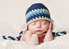 Baby Boy Hat, Newborn Baby Boy Crochet Hat in Blue, Navy and White Earflap, Great for Photo Prop. $25.00, via Etsy.