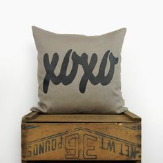 XOXO decorative pillow case in black and taupe beige, text applique - Linen blend marsala pantone 2015 - 18x18 / 45x45 cm cushion cover