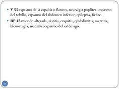  V 53 espasmo de la espalda o flancos, neuralgia poplítea, espasmo del tobillo, espasmo del abdomen inferior, epilepsia, ...