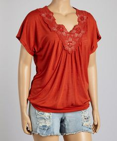Look what I found on #zulily! Red Floral V-Neck Top - Plus by IRE #zulilyfinds