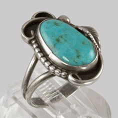 Native American Turquoise Jewelry | Vintage Native American Jewelry - Sterling Silver Ring With Turquoise