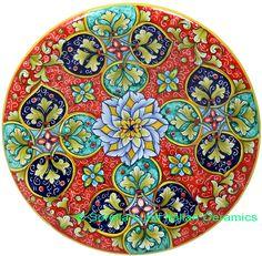 Ceramic Majolica Plate GEO G8 Red Green Blue 739 25cm - See more at: http://italian-ceramics-art.com/elegant-dishes-gifts/Ceramic-Majolica-Plate-GEO-G8-Red-Green-Blue-739-25cm.html#sthash.rNCVsrvR.dpuf