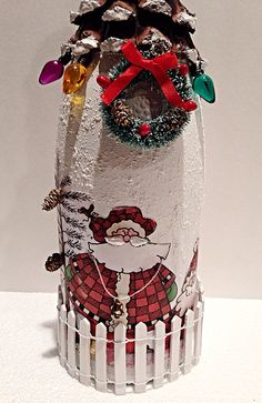 Items similar to Upcycled Decoupaged Bottle, Christmas Decoration. Hand Painted Wine Glasses, Painted Wine Bottles, Lighted Wine Bottles, Old Bottles, Antique Bottles, Vintage Perfume Bottles, Bottle Lights, Antique Glass, Glass Bottles
