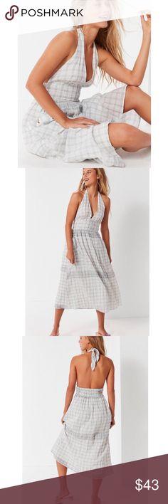 8c5d5193a27 UO Betsey Linen Halter Midi Dress New Urban Outfitters Dresses Midi Urban  Outfitters Dress