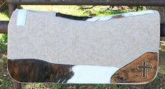 "New 1"" Wool Contoured Western Saddle Pad Hair on Hide 32x32 Cross 