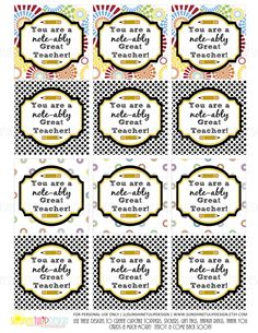 Teacher Appreciation Tags Sticker Labels and Cupcake Topper Printable DIY by SunshineTulipdesign by sunshinetulipdesign on Etsy