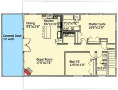 Potential plan for our new home - upstairs, 2 bedrooms, 2 baths, kitchen, dining and living room with balcony porch.