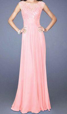 Pink Sleeveless Lace Floor Length Dress 19.67
