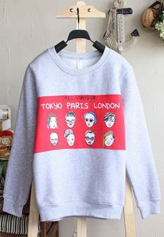 soulgoodies- fashion shopping mall — [grls76000090]Lovely Cute Head Print Pullover Sweatshirt