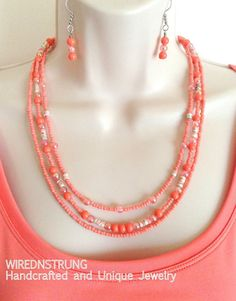 Gemstone and Seed Bead necklace set Gift for her by WirednStrung