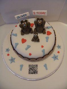Oliver's 1st birthday cake Bear Cakes, Birthday Cake, Desserts, Food, Tailgate Desserts, Deserts, Birthday Cakes, Essen, Postres