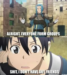 Sword Art Online (SAO) is an action, adventure and Sci-Fi series which is popular among anime fans due to its exploration of the virtual reality. Below is a list of 15 of the funniest Sword Art Online memes that we have collected for you to enjoy! Anime Meme, Manga Anime, Me Anime, Manga Girl, Anime Girls, Memes Humor, Sao Memes, Anime Pictures, Funny Pictures