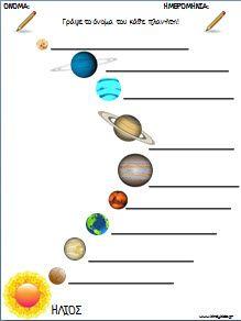Φυλλα εργασίας για τους πλανήτες και το διαστημα για το νηπιαγωγείο Space Classroom, Classroom Themes, Space Projects, Projects To Try, Kid Spaces, Solar System, Worksheets, Education, Kindergarten
