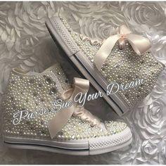 d54265b75e68 SWAROVSKI CRYSTAL and PEARL Converse Chuck Taylor Lux Wedge Wedding Converse  - Wedding Chucks - Pearl Wedding Shoes - Pearl Wedge Converse swarovski  wedge ...