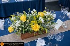 Image result for images of yellow, cream, white for round wedding centrepieces