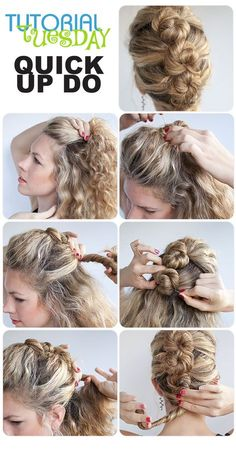 Tutorial Tuesday - Quick Updo Have an event or holiday party coming up? Do you already have the perfect outfit? Is your hairstyle still up in the air? Then try this quick updo that looks fun and elegant at the same time! In just a … Continue reading → Curly Hair Styles, Medium Hair Styles, Pinterest Hair, Great Hair, Hair Dos, Gorgeous Hair, Trendy Hairstyles, Hair Hacks, Bridal Hair