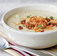 Baked Potato & Leek Soup with Cheddar & Bacon