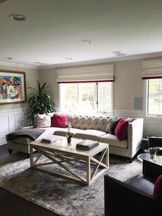 Living Rooms & Foyers - JENNIFER PACCA INTERIORS   #interiordesign #homedecor #popofcolor #fushia #arearug #woodfloors #tuftedsectional #amazingview #romanshades #interiordesigner #renovation #goals #decorating #transitional #realestate #home #furniture #interiordedisigner #housegoals #design #dreamhome #dream #dreamy
