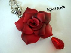 Polymer Clay Jewelry Pendant  Handmade  Red Rose by OlivesHands, $18.00