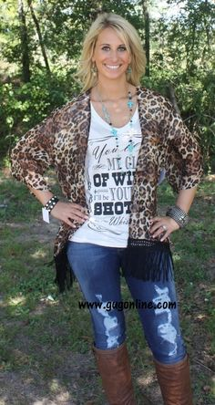 Cheetah Craze Kimono Top with Black Fringe www.gugonline.com $36.95