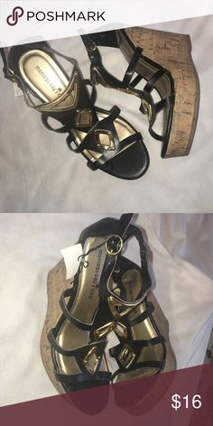 Black and gold wedges New with tags Shoes Wedges